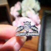 Infinity 925 Silver Women Wedding Rings White Sapphire Fashion Jewelry Sz6-10