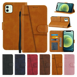 Cowhide Leather Flip Card Holder Case Cover for iPhone 12 11 Pro XS Max XR 7 8+
