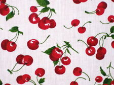 RETRO RED CHERRY WHITE BKGRND PRINT FABRIC NEW QUILT SEW CRAFT DECOR BY HALF YDS