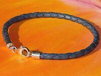 Ladies / mens 4mm Dark Blue leather & sterling silver bracelet by Lyme Bay Art.