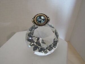 Ross-Simons 925 Sterling Silver/14K Yellow Gold Blue Oval Topaz Size 5