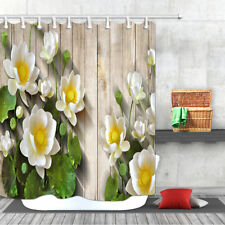 White Lotus on Old Wooden Board Waterproof Fabric Bath Shower Curtain Extra Long