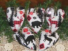 5 Hearts Black Bear Deer Moose Bowl fillers Wreath making Country Christmas