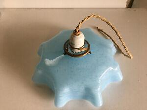 Ancienne suspension abat jour verre Clichy bleu moucheté luminaire art déco