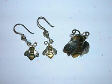 Pin Earrings Set by Mima & Oly Signed Womens Far Fetched Silver Brass Bumblebee