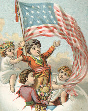 1880'S Early American Flag with Children, In Large Egg Boat Stock Card Tc3060