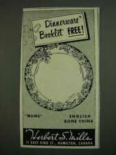 1956 Herbert S. Mills Mums English Bone China Ad