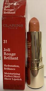 CLARINS Joli Rouge Brilliant Lipstick Tender Nude 31 Moisturising Shine Sheer