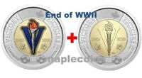 NEW! 2020 75th Anniversary end of WWII Toonie $2 Color + NO Color Canada Coin