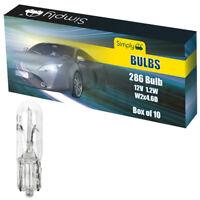 10 X 286 T5 12V 1.2W Car Clear Small Capless Wedge Dashboard Panel Light Bulbs