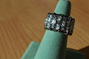 4.76ct Espirito Santo Aquamarine / Black Spinel Ring Platinum over Silver Sz 7
