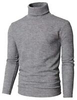 Man`s  Ribbed Turtleneck Sweater Casual Pullover Thermal Soft Cotton Long Sleeve