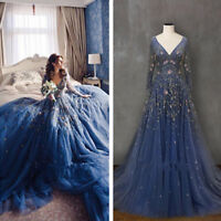Blue Lace Boho Wedding Dresses Bridal Ball Gowns V Neck Long Sleeve Top Custom