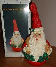 "ROLY-POLY SANTA CLAUS MUSICAL 10"" Figurine w/Box CHRISTMAS Taiwan"
