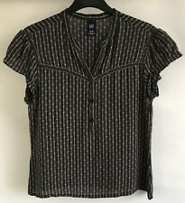 GAP Ladies V-Neck Short Sleeves Pure Silk Black and Beige Blouse Size XS/TP