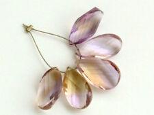 Natural Ametrine Faceted Twist Pear Briolette Gemstone Beads 5PCS