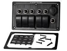 12V 5 Gang LED Waterproof Car Boat RV Rocker Switch Panel Circuit Breaker Fuse