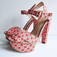 Kurt Geiger Size 4 UK / 37 EU Strappy Platform Sandals Red Blue & White Flowers