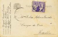 Spanien Asturias Und León. Umschlag 2. 1937. 5 Cts Violeta. Karte Postkarte Von