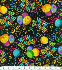 HAPPY BIRTHDAY  BALLOONS  ALLOVER ON BLACK  100% COTTON FABRIC  BY THE 1/2 YARD