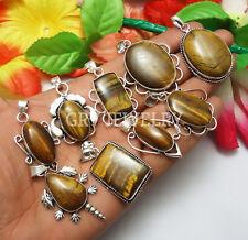 30pcs Pendants Tiger Eye Gemstone Wholesale Lot .925 Silver Plated