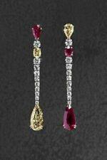 Women's Tear Drop Beautiful Yellow Gold Citrine, Velvet Red Ruby & CZ Earrings