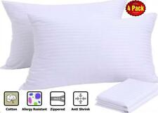 "Pillow Protectors 4 Pack Queen Zippered White Cotton Sateen 20x30"" Premium"