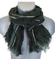 Ella Jonte Herrenschal grün weiß grau gestreift leichter Schal Baumwolle Viskose