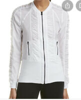 Women's VIMMIA White Ruched Windbreaker Full Zip Jacket Size X-Large XL