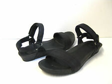 TEVA YSIDRO STITCH WEDGE WOMEN LEATHER SANDALS BLACK US 9.5 /UK 7.5 /EU 40.5