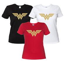 Wonder Woman Maglietta Donna Replica Logo Oro T-Shirt Film Fumetto Serie TV