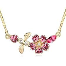 18K Gold GP Made With Swarovski Element Crystal Butterfly&Flower Necklace Pink