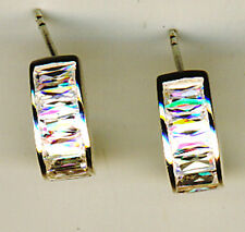 """925 Sterling Silver Cubic Zirconia Curved Front Stud Earrings  L 1/2"""" x 1/4"""""""