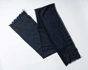Isaia Napoli $875 NWT Navy Blue Gray Coral Fringe Cashmere Silk Blend Scarf