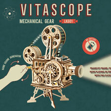 Wooden Vitascope Model Kits DIY Mechanical Classic Film Projector Toy Gift Craft