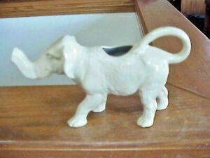 Vtg Pottery White Standing Elephant Creamer