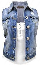 NEW DENIM Waistcoat JACKET Ladies Jean Gilet Jackets Size 8 10 12 14 16 Blue