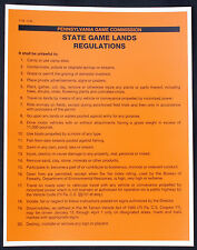 Pa Pennsylvania Game Commission Plastic 1995 State Game Lands Rules & Regs Sign