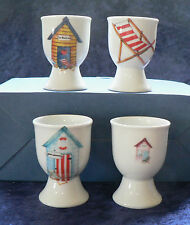 Beach Huts egg cups eggcup porcelain set of 4 boxed different colours in set