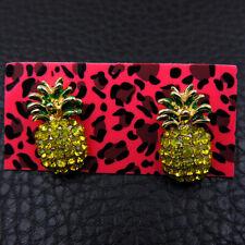 Betsey Johnson Yellow Crystal Enamel Pineapple Women's Ear Stud Earrings Jewelry