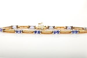 Designer $4000 7ct Natural Tanzanite 14k Yellow Gold Tennis Bracelet 10g