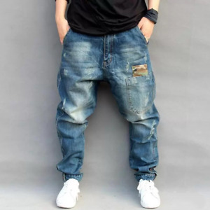 Men's Comfortable Beam Port Trousers Pants Street Loose Hip Hop Splicing Pants