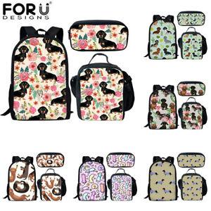 Floral Dachshund Dog Backpack Women Girls School Lunch Box Pencil Bag Rucksack
