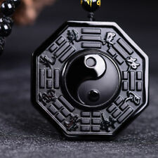Bagua Black Obsidian Natural Pendant Amulet Taiji Yin Yang Taoist accessoriy