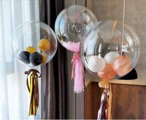 """18/24/36"""" BUBBLE BALLOON CLEAR TRANSPARENT WEDDING PARTY DECORATION BIRTHDAY UK"""