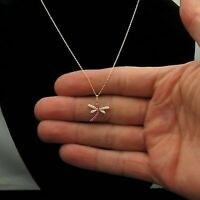 0.4 Carat Diamond With Pink Sapphire Dragonfly Charm Necklace 18k Yellow Gold GP