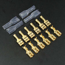 200Pcs 4.8mm Gold Plated Crimp Terminal Female Spade Brass Plastic Connectors