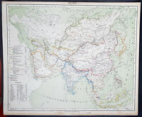 1854 Handtke & Flemming Large Antique Map Asia, Saudi Arabia, China, East Indies