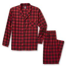 Hanes Men's Flannel 2Pc Pajama Shirt & Pants Red Plaid - XL Red Black