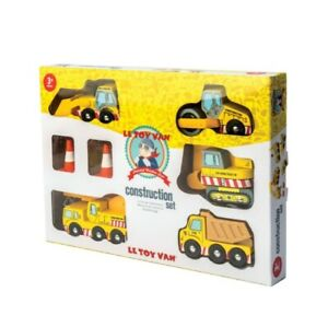 Le Toy Van Wooden Construction Set 5 Vehicles Moving Parts Children's Toys Kids